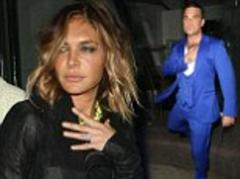 robbie williams' wife ayda field looks a little worse for wear after being treated to a slap-up birthday meal at nobu